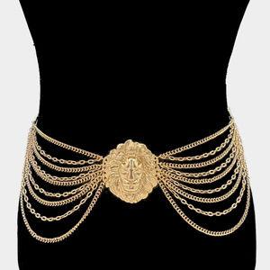 Golden Lion Textured Chain Waist Belt